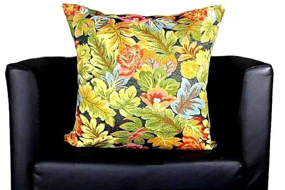 Floral Tapestry Throw Pillow Cover Antique French Provencal