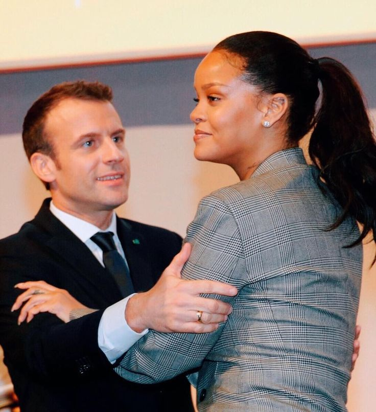 GPE Global Ambassador Rihanna and French President Emmanuel Macron at the GPE Financing Conference in Senegal to support education to kids from around the world. #Rihanna