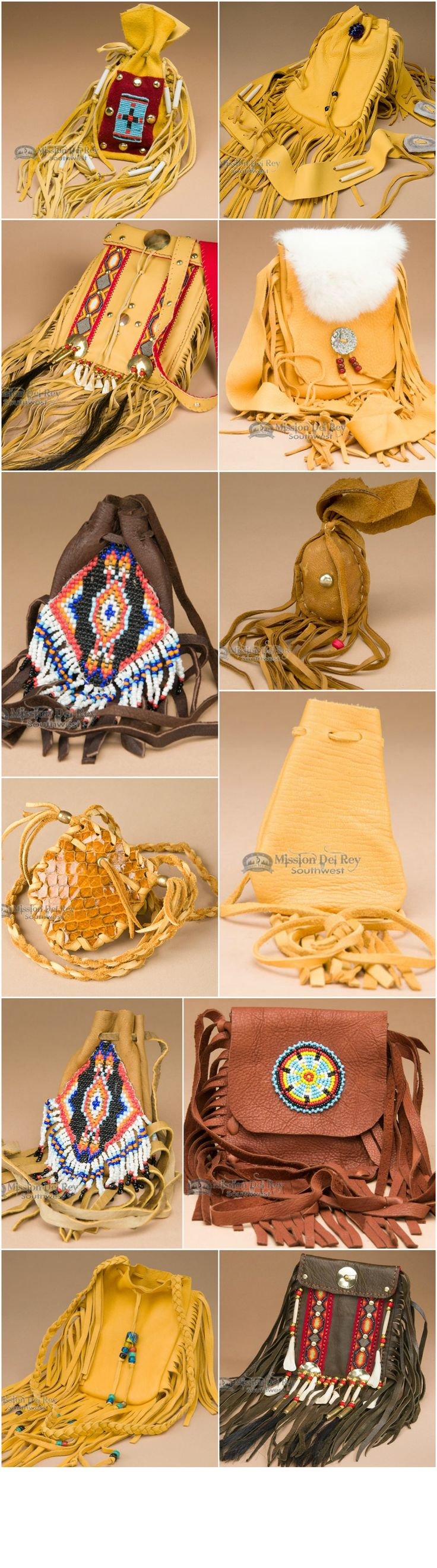 Native American medicine bags continue to be a popular part of Native life. Leather medicine pouches made with soft deer hide buckskin, elk or buffalo have become the most prevalent among American Indians.  See our entire gallery of Native American bags at http://www.missiondelrey.com/native-american-medicine-bags/