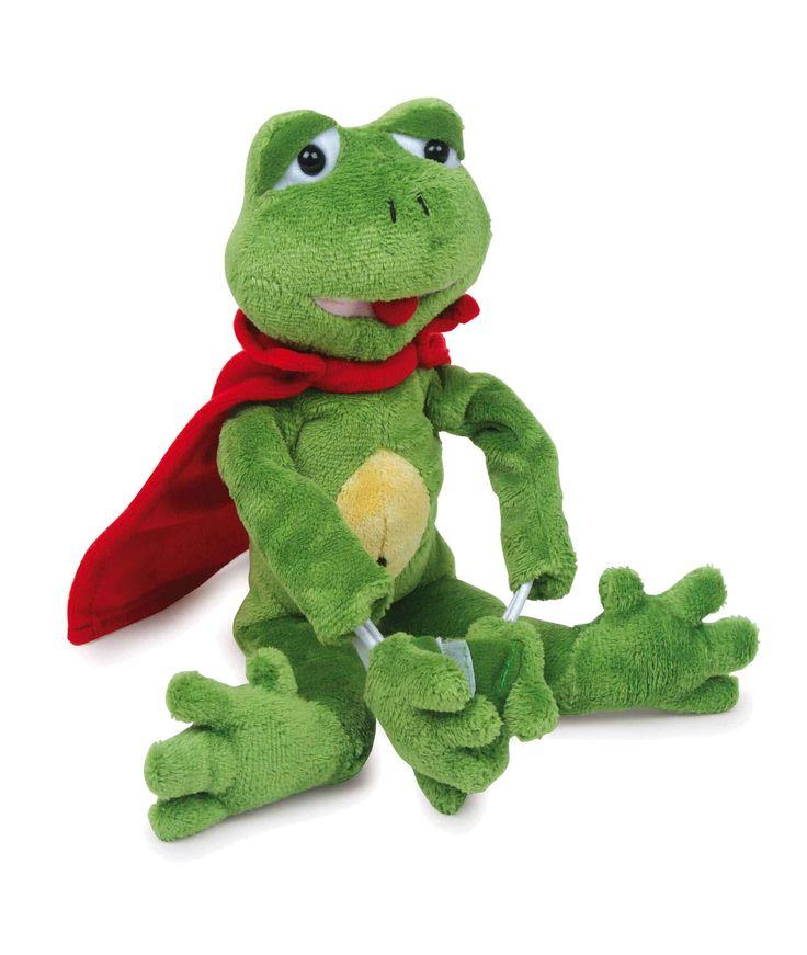 Deze absoluut leuke kikker heeft elastieken in zijn armen, waaraan hij door de ruimte kan worden geschoten! Met zijn rode cape ziet hij er bijna uit als een superheld - bijna! Met klittenbandverbindingen aan de handen kan hij zich in luchtige hoogtes goed vasthouden.