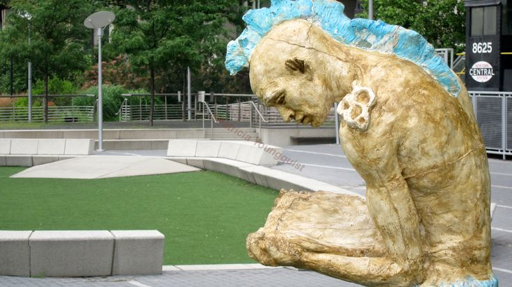 Q: What? A sculpture in NYC reading a kindle? A: Info @ http://www.hometalk.com/4116638/gardening-mice-pigeons-repellent