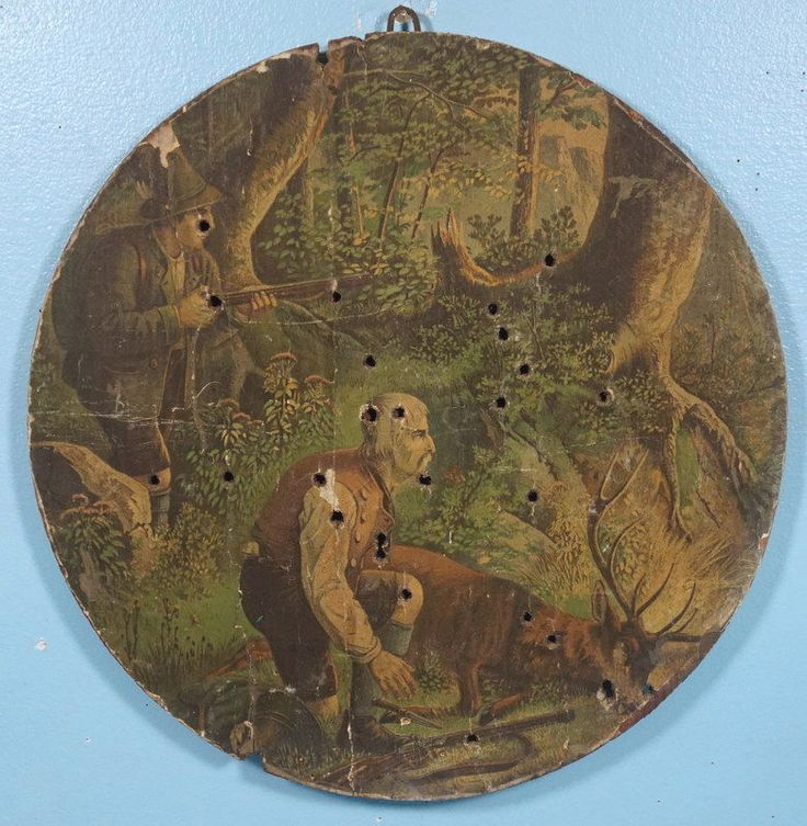 Antique German Wood Carving Hunt Target Lithograph Hunters Stag Forest c1890