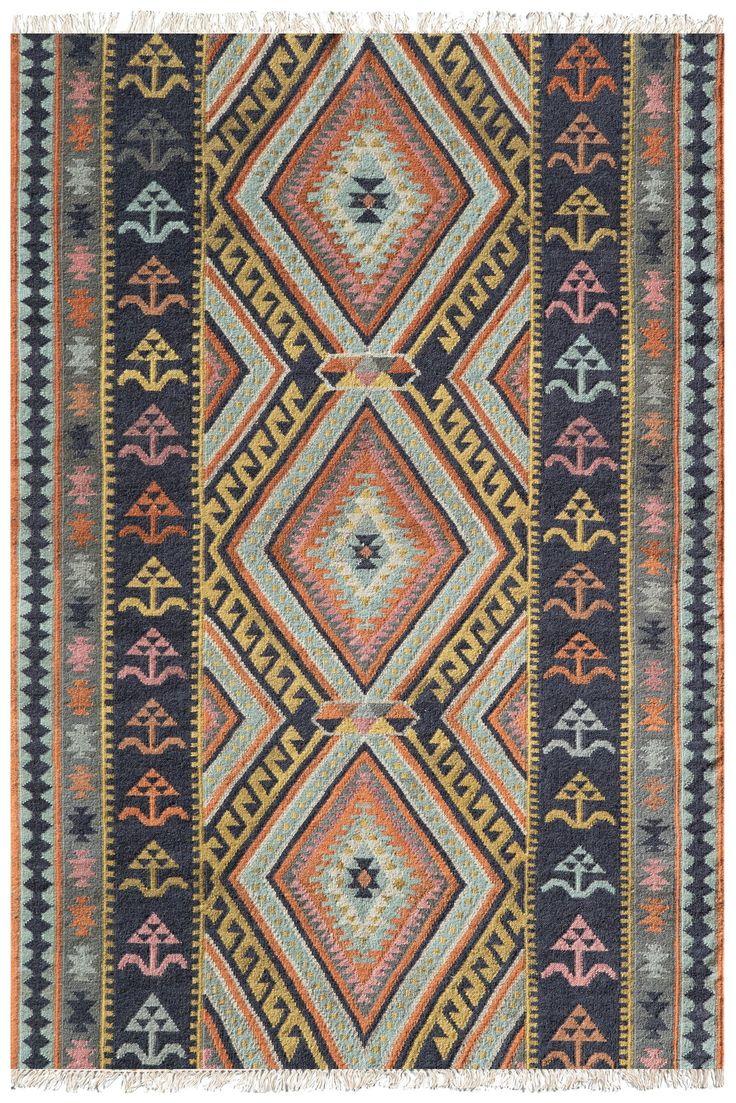 southwest boho flatweave kilim style orange pink blue rug southwestern area rugs on boho chic kitchen rugs id=52899