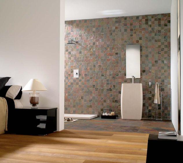 Copper Slate Mosaic Bathroom Wall Cladding By Stone Studio