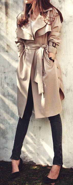 Belted Khaki Trench Coat