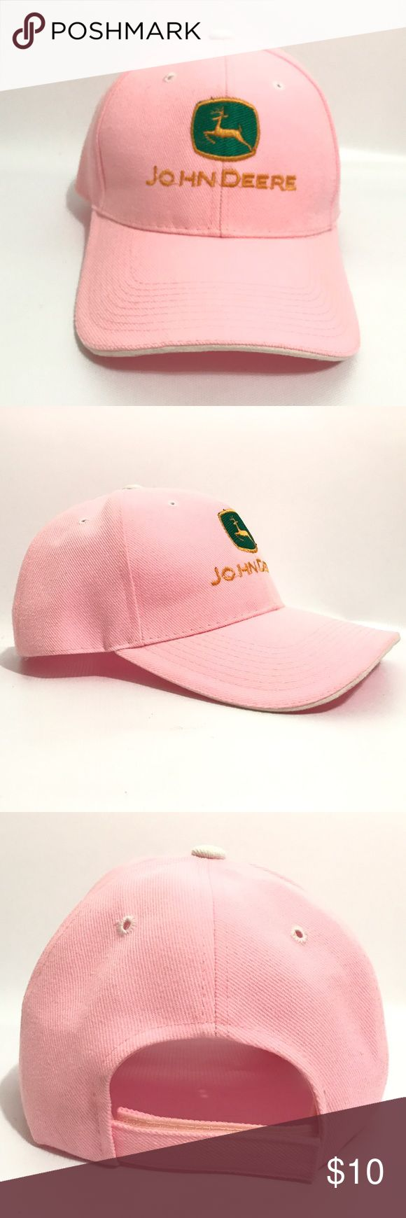 John Deere Womens pink baseball hat Velcro strap Some signs of wear John Deere Accessories Hats