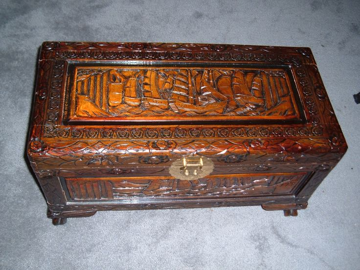Carved wooden trunks chinese chest hand carved camphor for Oriental furniture australia