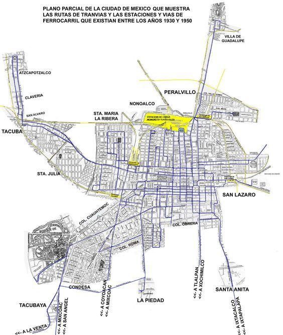 MAPA DE LA CIUDAD DE MEXICO EN 1930, con rutas de tranvías y estaciones de F.C.