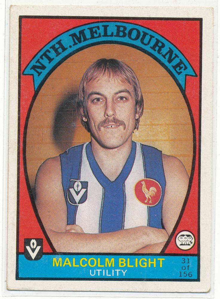 SCANLENS VFL AFL 1978 FOOTY CARD MALCOLM BLIGHT NORTH MELBOURNE KANGAROOS 31 au.picclick.com