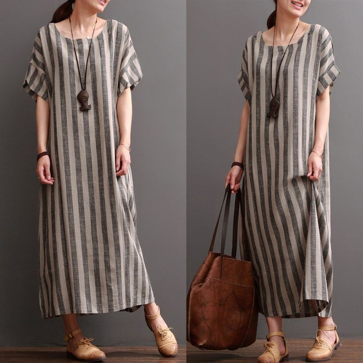 Women Cotton Linen Loose Dress   Crazy how Mom died just as stripes were coming in to fashion like I've never seen in my life. She would love this one. And the pendant. And the bag.