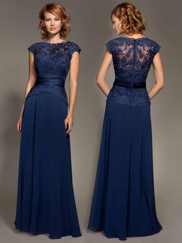 Baratos Dark Navy Blue Lace Cap manga gasa palabra de longitud vestido Evenig lf2739 madre de la novia viste vestido de fiesta 2015