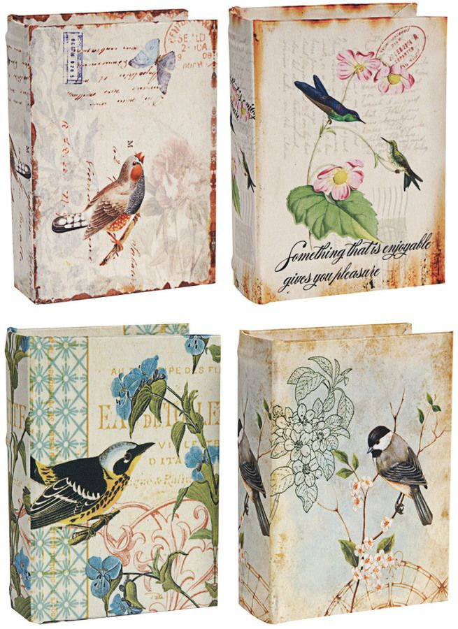 These storage boxes are so pretty and make a great secret hiding spot!   Set Of 4 Book Boxes  #birds #garden #storage #boxes #affiliate