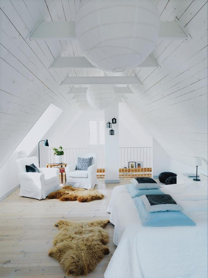 White attic mezzanine bedroom, Ikea arm chairs, on From Scandinavia With Love blog.