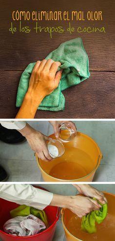 Para lavar los trapos de cocina necesitarás los siguientes ingredientes: •Una taza de vinagre blanco •3 cucharadas de bicarbonato de sodio  •Detergente