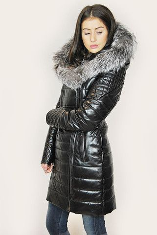 JESSIMARA BLACK LEATHER SILVER FOX TRIM PUFFER COAT