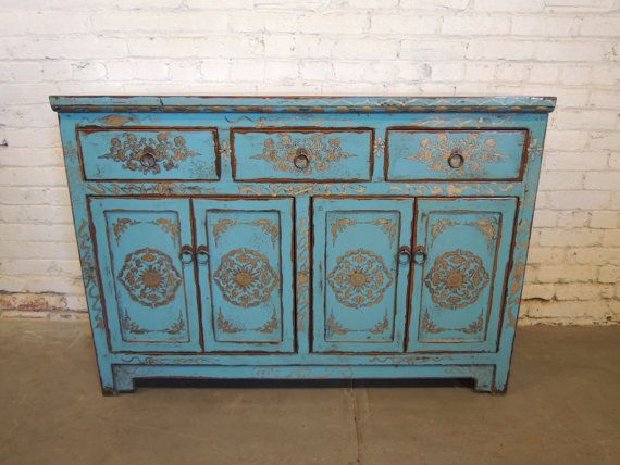 Small Tibetan Storage Credenza In Blue With Gold Motif (Los Angeles)