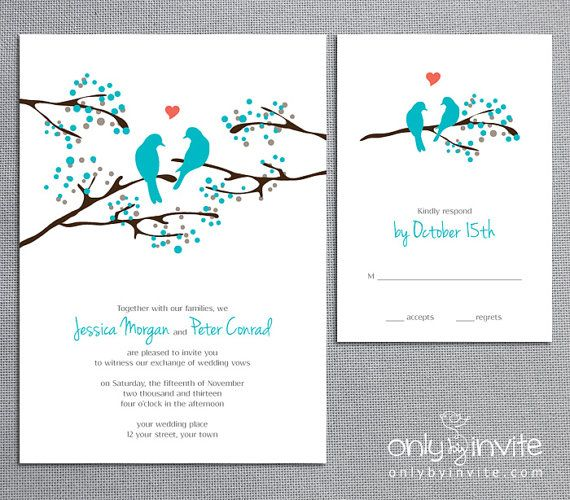 43 best sarah lovebird wedding invites images on pinterest, Wedding invitations