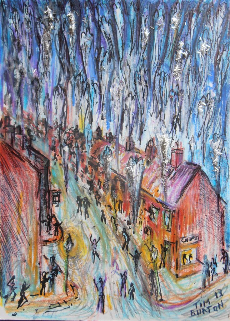 """""""LONG ROW"""" The Night The Angels Came Down, first version, crayon pen and glitter on card."""