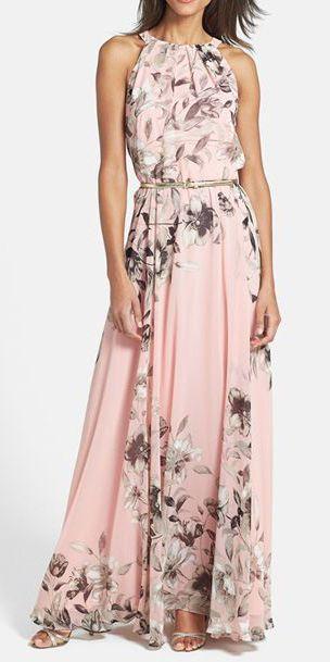 Amazing Print Chiffon Maxi Dress For a Special Ocasion - Υπέροχο Βραδυνό Μάξι Φόρεμα με Λουλούδια σε Απαλό Ροζ