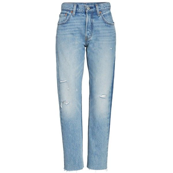 Women's Levi's 501 Crop Jeans ($98) ❤ liked on Polyvore featuring jeans, you pretty thing, levi jeans, distressing jeans, distressed jeans, dark wash jeans and blue denim jeans