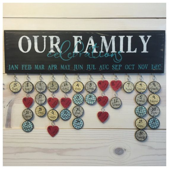 Family Birthday Board hand painted, no vinyl. Family Celebrations . Special Dates . Calendar . Sign . Family Birthday Wall Hanging
