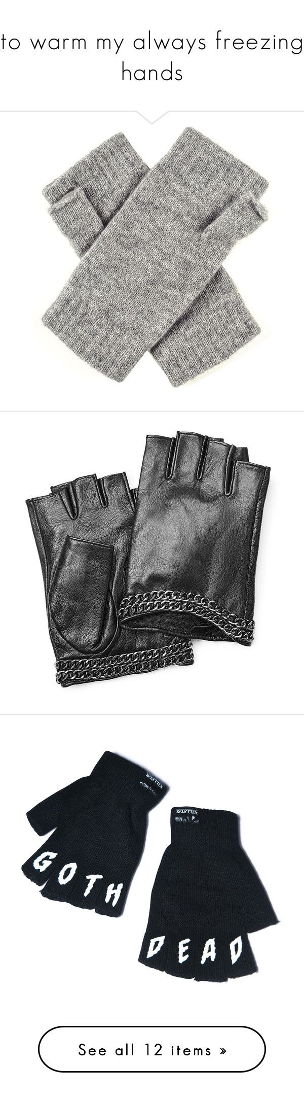 Black leather gloves with red buttons -  To Warm My Always Freezing Hands By Madhattermadi Liked On Polyvore Featuring Accessories