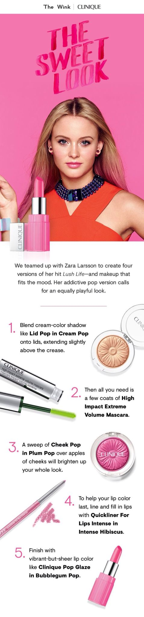 Zara Larsson look made with Clinique pop collection