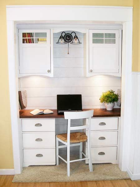 Opening up the closet helped give the family access to more precious floor space. Planked walls and a desk finished with bin pulls fit with the home's Craftsman cottage look. Six drawers and two upper cabinets offer plenty of room for stashing school supplies and paperwork.