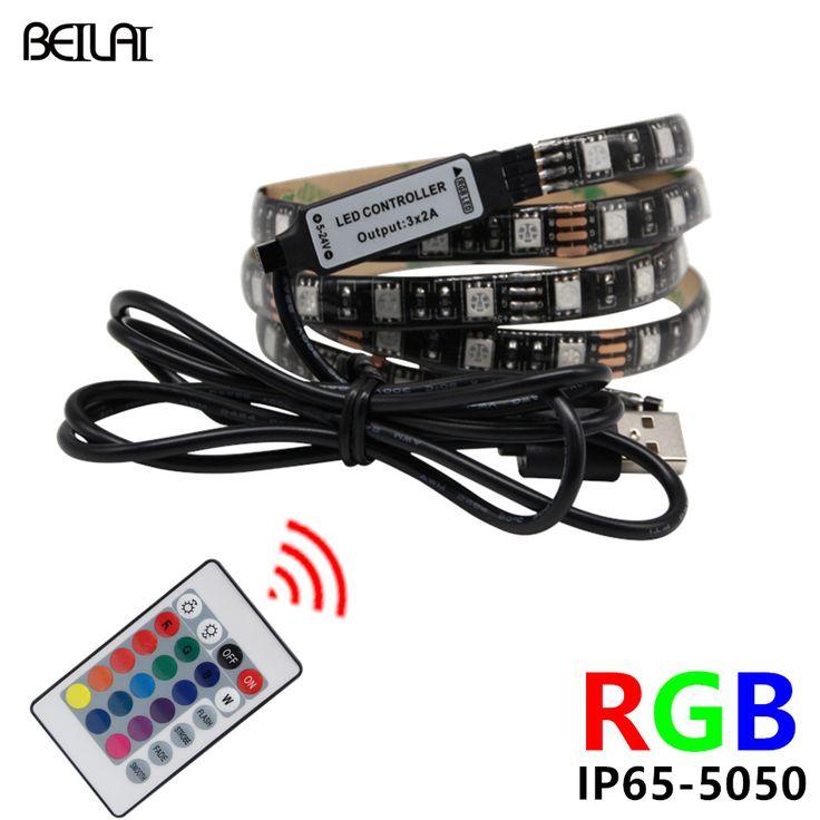 BEILAI 5050 DC 5V RGB LED Strip Waterproof 60LED/M USB LED Light Strips Flexible Neon Tape 1M 2M add Remote For TV Background