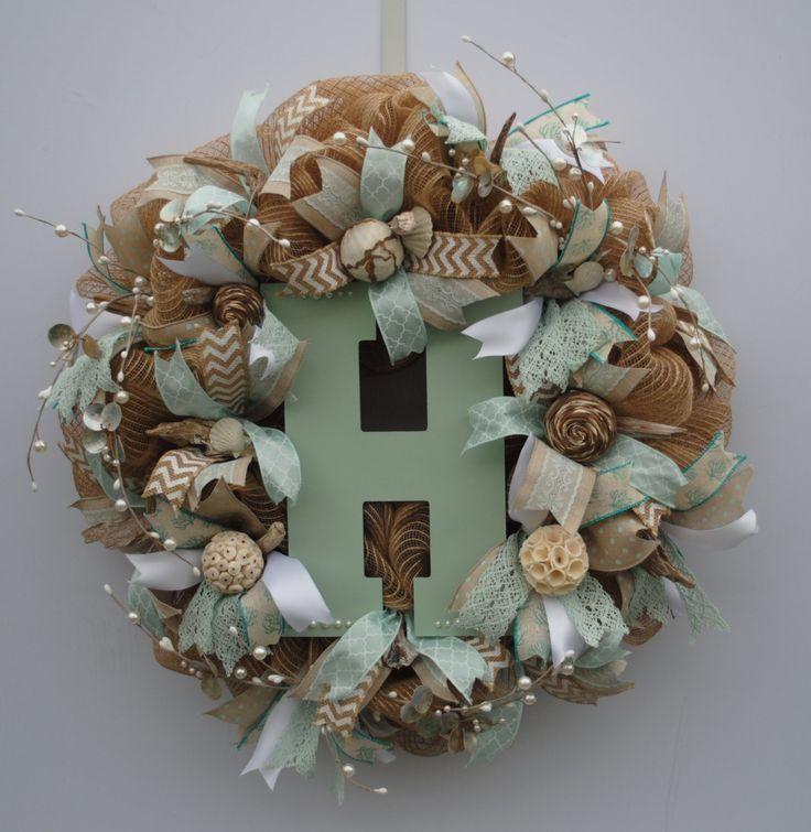 Beach Initial Wreath, Custom Initial Wreath, Everyday Wreath, Summer Burlap Initial Wreath, Shabby Chic Initial Wreath, Monogram Wreath by HannaBeas on Etsy https://www.etsy.com/listing/278269144/beach-initial-wreath-custom-initial