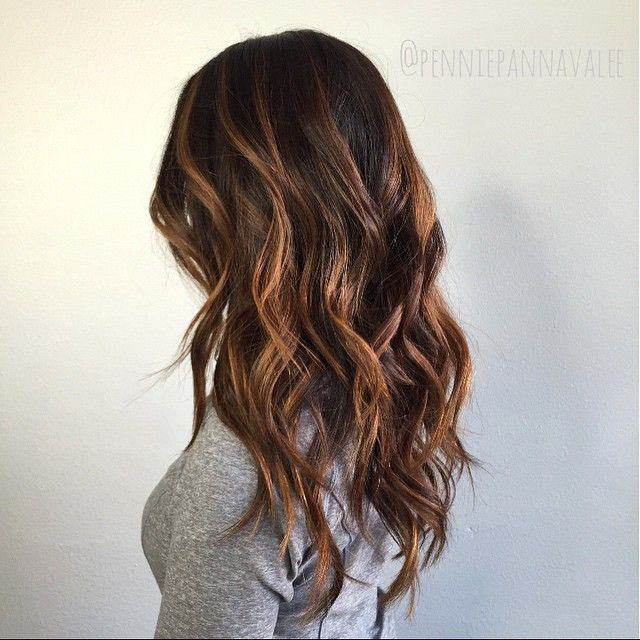 warm copper brown balayage highlights courtesy of penniepannavalee hair pinterest brown. Black Bedroom Furniture Sets. Home Design Ideas