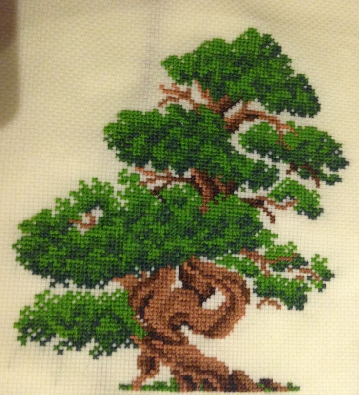 """"""" Bonsai Tree Cross Stitch - Pattern [HERE] My first ever project on 18 count aida and I love it! I'm probably going to display this in a hoop when I get around to ribboning one..."""