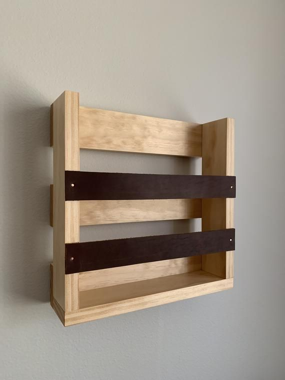 Magazine Rack With Leather Accents Wall Mounted Magazine Rack Etsy Diy Magazine Holder Magazine Holders Magazine Rack