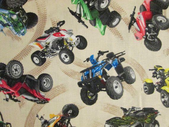 Four Wheeler ATV Vehicle Racing Xtreme Sport Cream Cotton Fabric Fat Quarter or Custom Listing