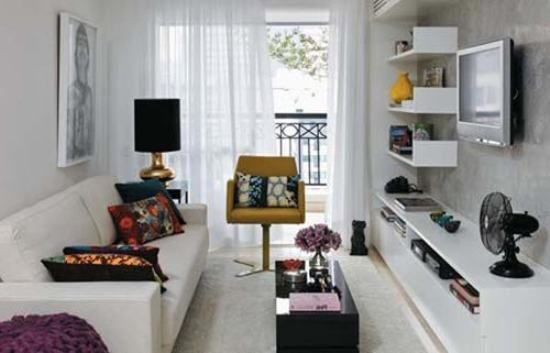 Buenas ideas para livings largos http for Very small living room designs with tv