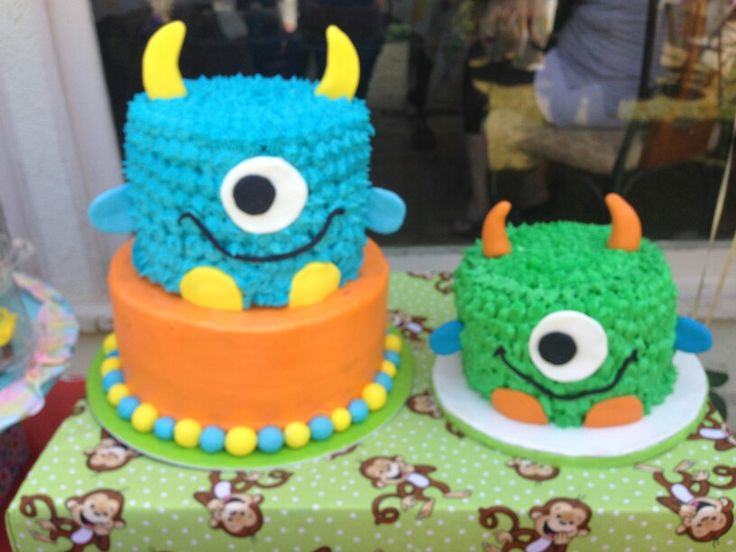 Monster cakes for 1 year old birthday party. Used 1 for guests and 1 as a smash cake for the birthday boy.