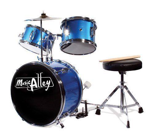 Children's 3 Piece Kids Junior Drum Set W/ Stool, Drumsticks, Cymbals
