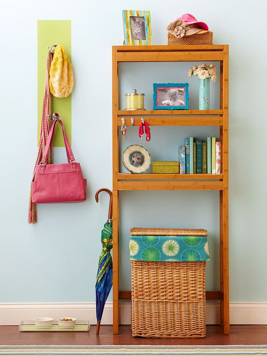 Save space in your entryway with these simple storage tips: http://www.bhg.com/decorating/do-it-yourself/accents/diy-storage-for-every-room/?socsrc=bhgpin011914makeanentrance&page=13