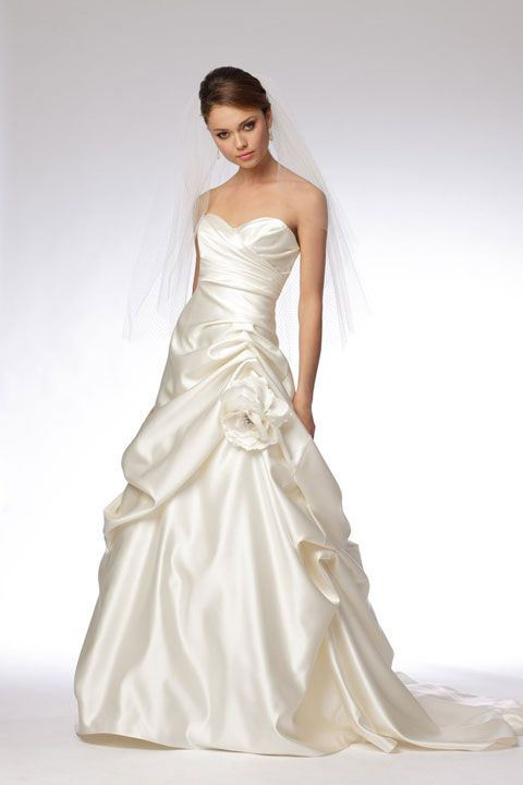 Ball gown floor-length satin bridal gown with hand made flower