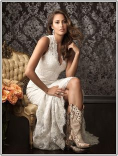 western lace wedding dresses with boots - Google Search