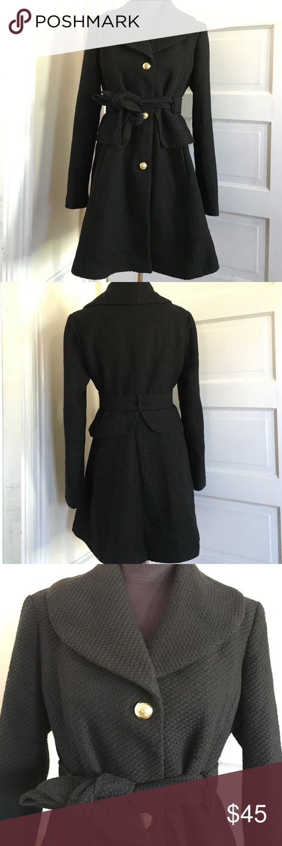 Jessica Simpson coat size Large EUC Jessica Simpson winter coat size large. (Best to fit a 10/12) Super cute and warm coat, nubbly black wool blend. Only worn a few times. Features gold buttons, (spare button attached to inside tag) pockets and very flattering peplum waist. The fit is a slim fit, and the arms are longer then some coats. Smoke free home. Jessica Simpson Jackets & Coats