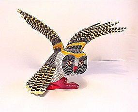 Oaxaca, Mexico Owl Folkart Carving