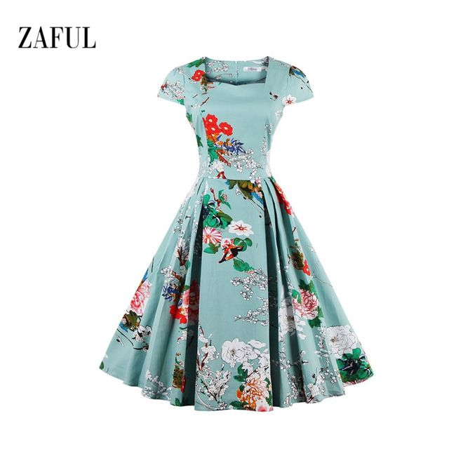 Zaful Novo Vestido de Verão Plus Size Roupas Femininas S-4XL Casual Praia Floral Vestido Elegante da Festa Vestido de Rockabilly Do Vintage Vestidos