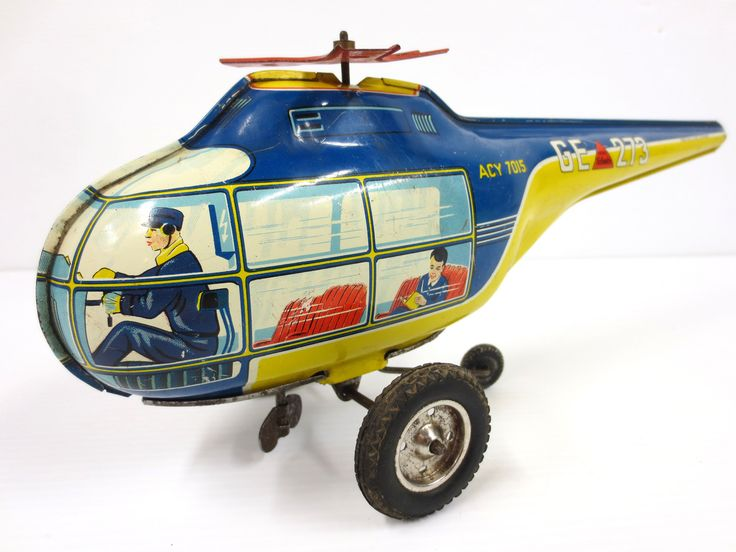 Vintage Wind-Up Tin Toy Helicopter, Marke Technofix Germany, 13""