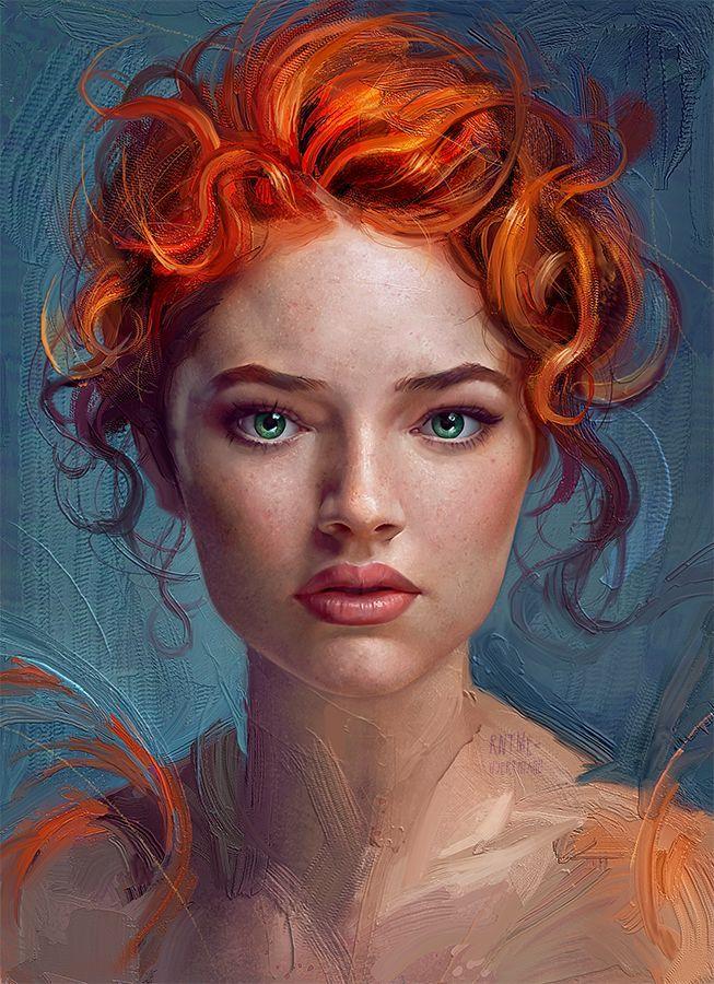 Thiago Moura Januário {figurative realism art beautiful female redhead woman face portrait digital grunge painting #loveart} http://userthiago.deviantart.com