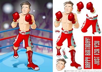 Boxer Dude  on Craftsuprint designed by Gordon Fraser - ROUND ONE!...In the red corner it's Boxing Dude! Easy to make, with decoupage and sentiment tiles! Please check out my other Dudes and designs! - Now available for download!