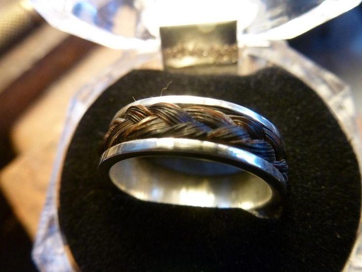 Anillo plata 925 y crin negra de caballo trenzado