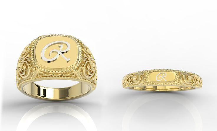 Sygnet z grawerunkiem. / Engraved ring.