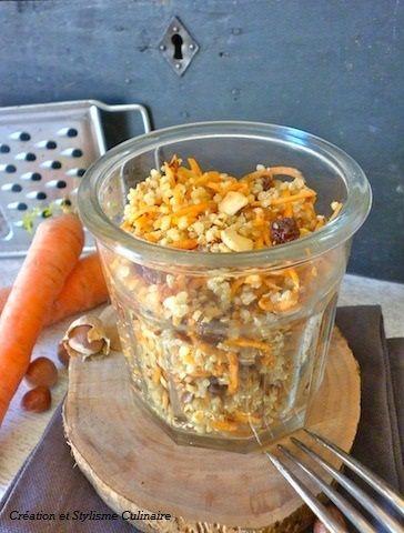 Salade printanière de quinoa, carottes nouvelles, radis noir, noisettes et raisins secs. www.jecuisinesansgluten.com