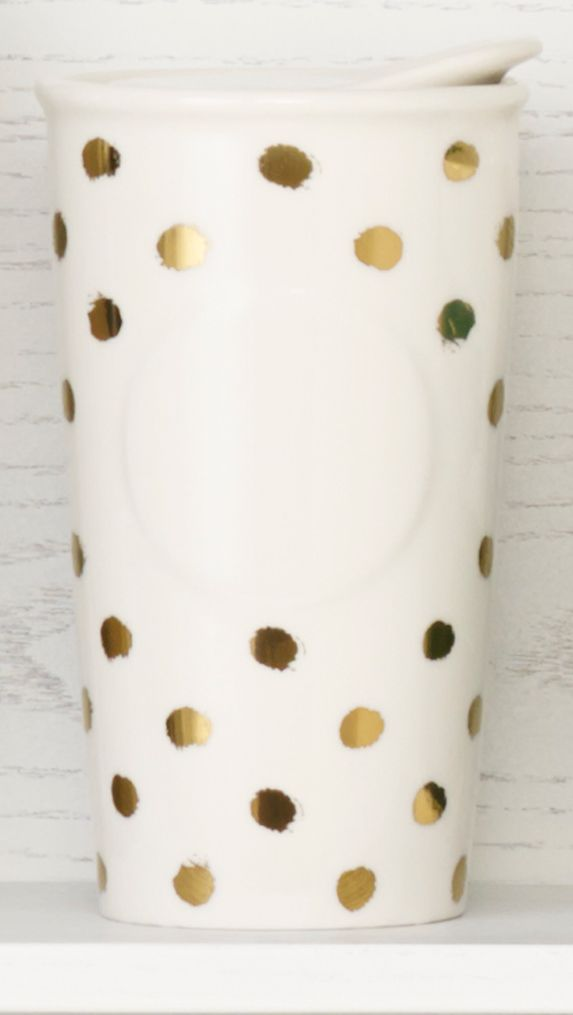 Double-walled ceramic mug with a metallic dot design. #Starbucks #DotCollection